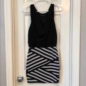 Dresses & Skirts - Black white stripe going out dress size S